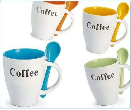 Taza personalizada con cuchara incorporada regalos for Cuchara de cafe